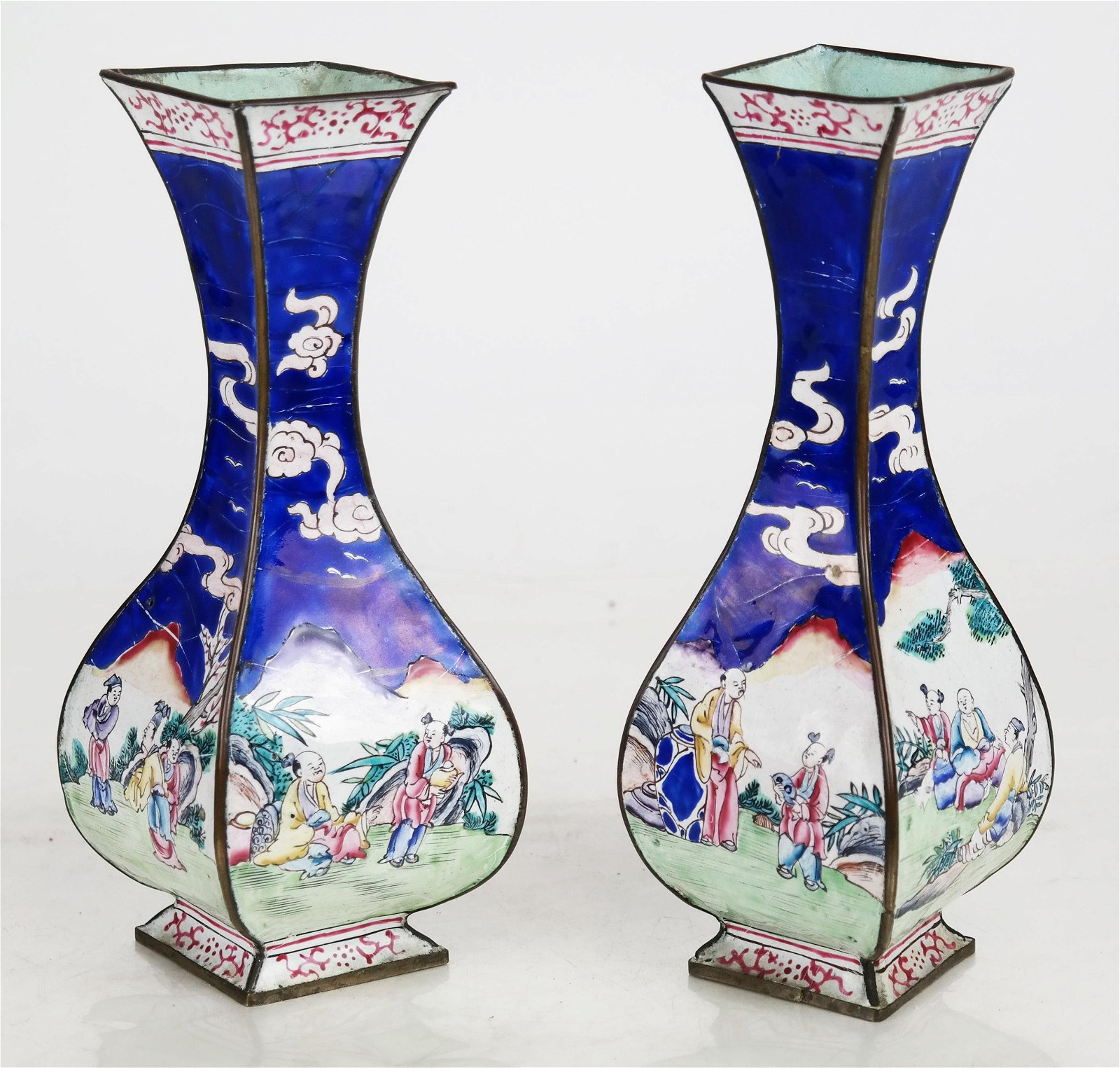 Pair Chinese Qing Dynasty Bag-Form Vases