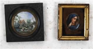 Two Miniatures Porcelain, Painting Portraits