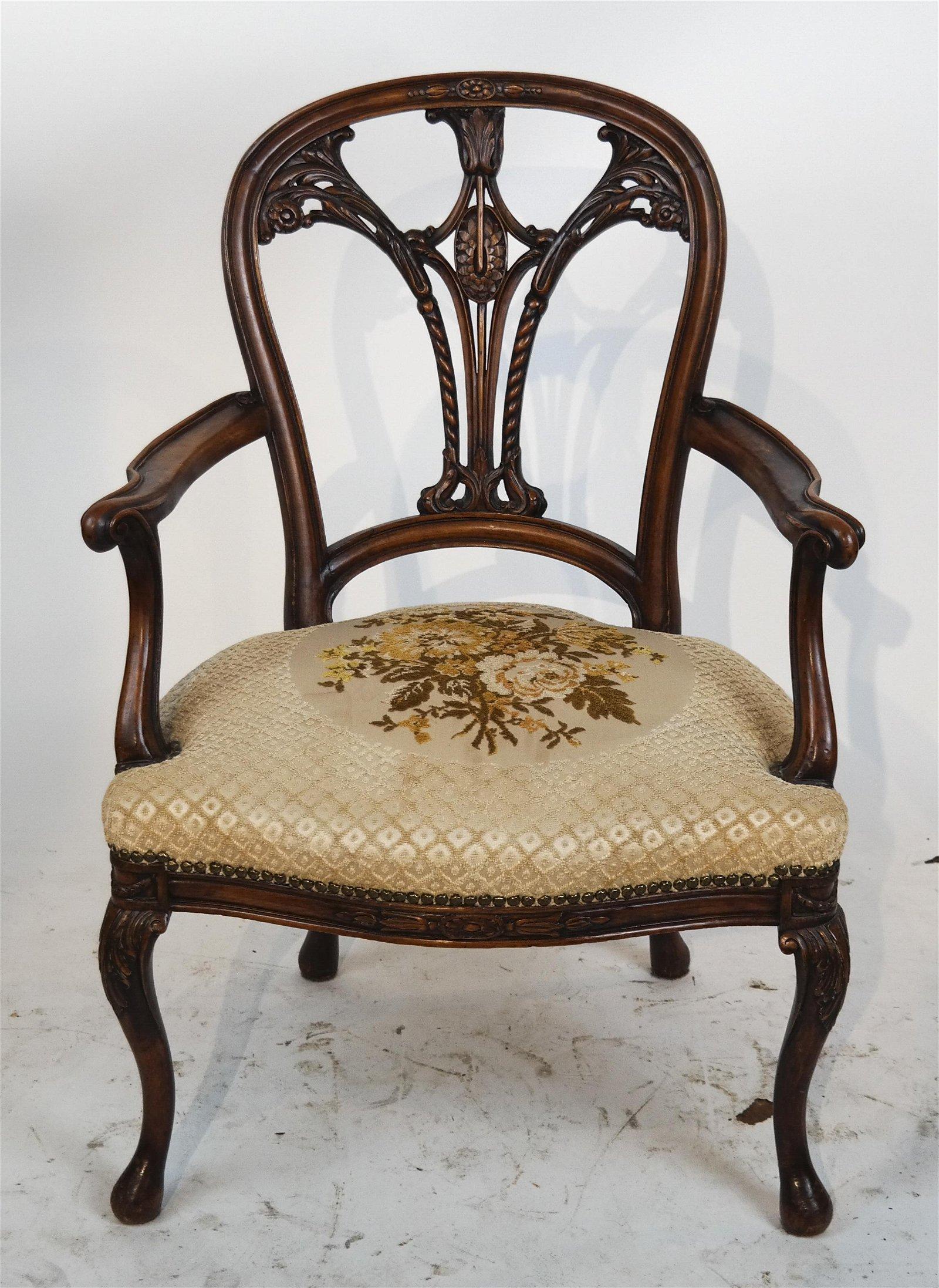 English Victorian Walnut Pull-Up Chair