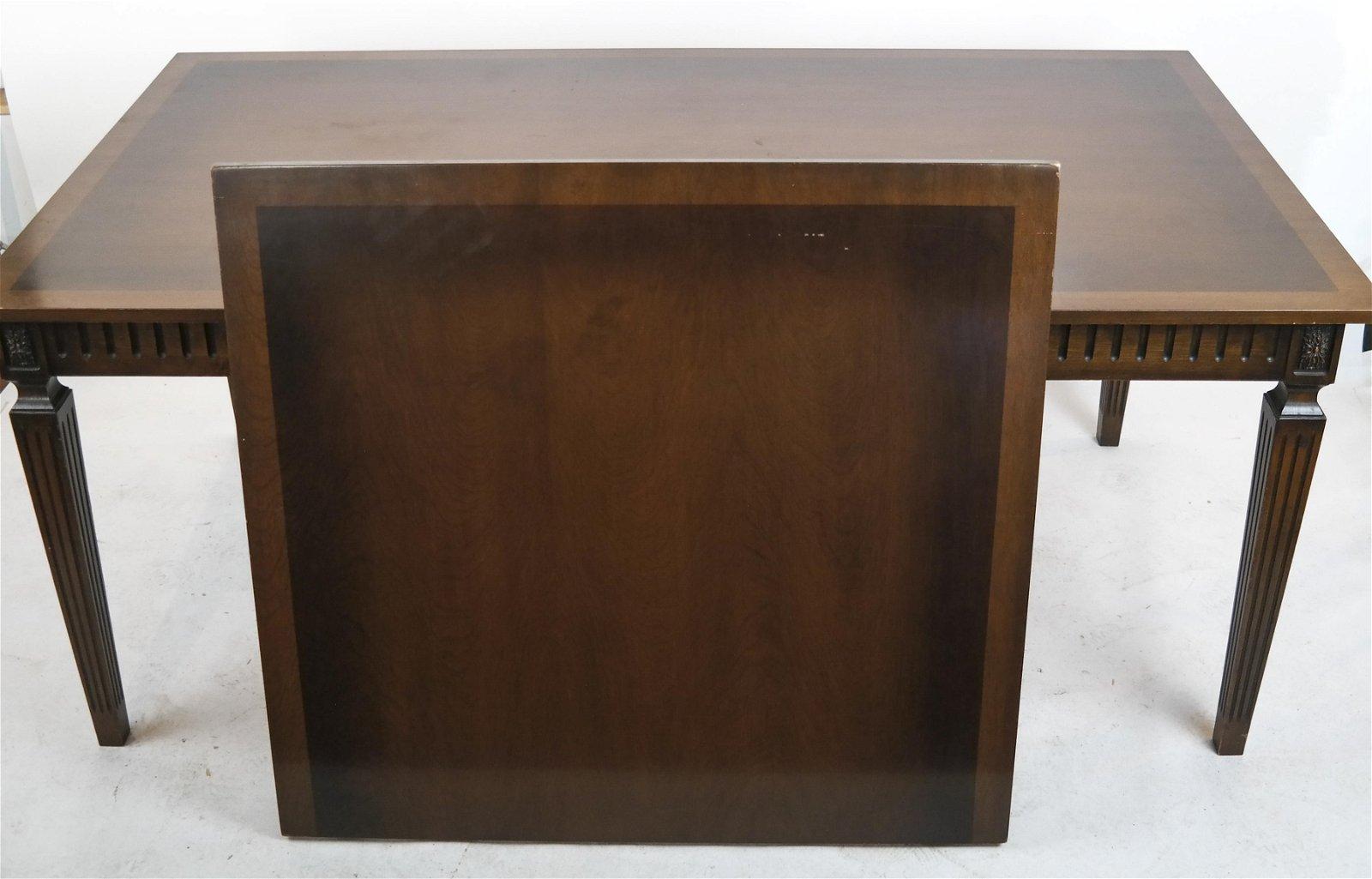 Louis XVI-Style Mahogany Inlaid Table w/ Leaf
