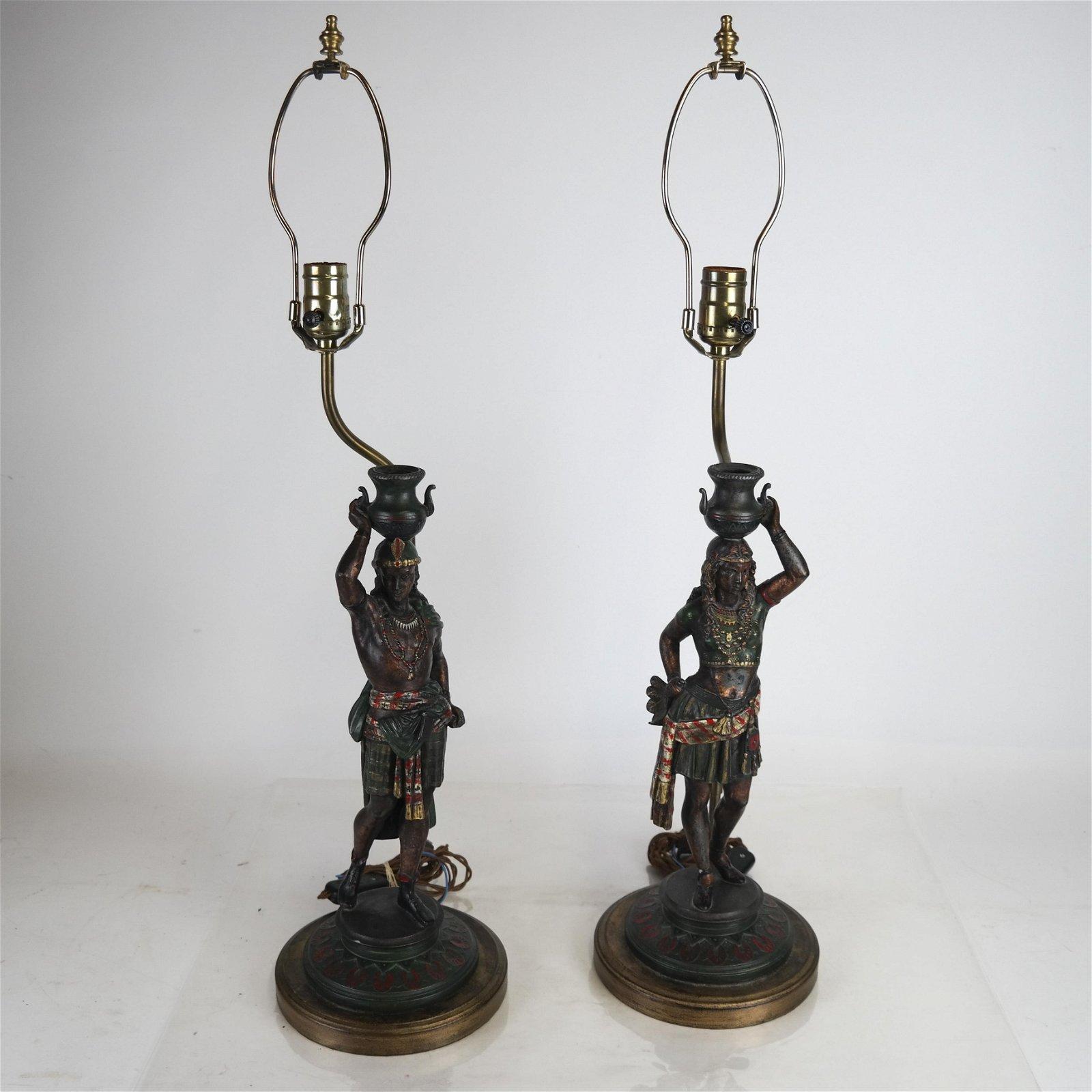 Pair 19th Century Orientalist-Style Figurine Lamps