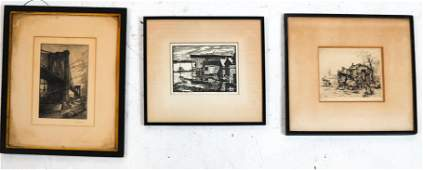 Three Works Etching Wood Cut Lithograph