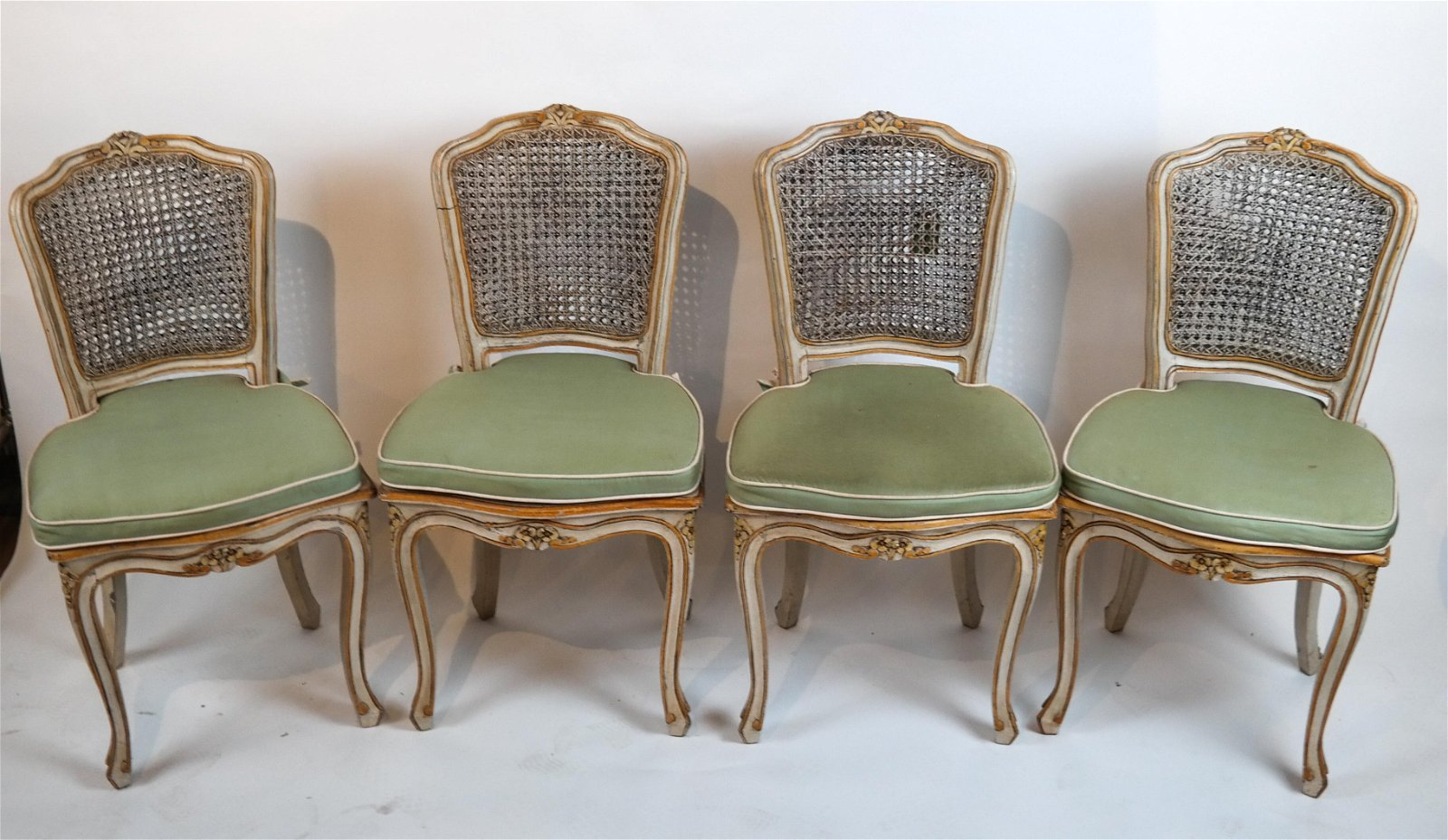 Set of 4 Creme Gilt Caned Side Chairs