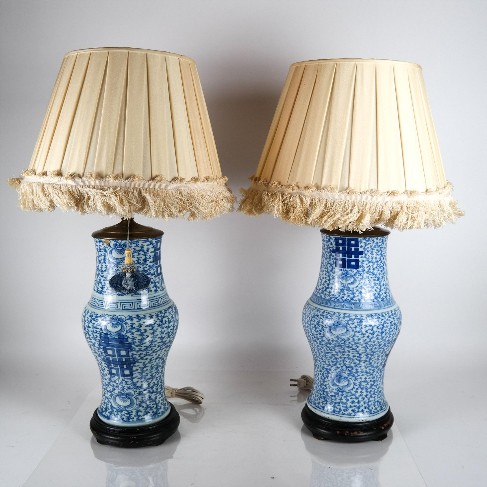 Pair Chinese Blue & White Porcelain Lamps