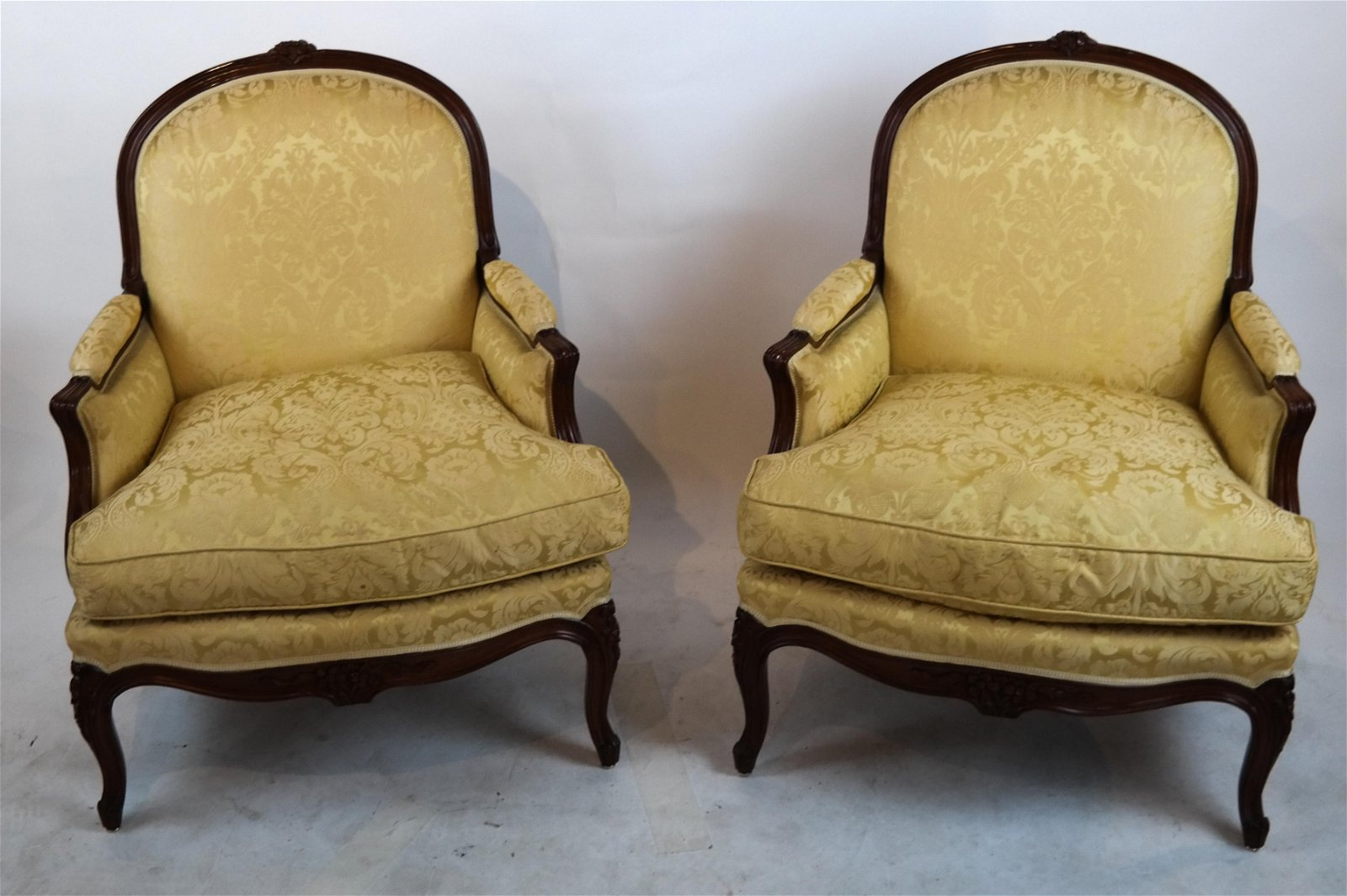 Pair of French Gold Upholstered Bergeres
