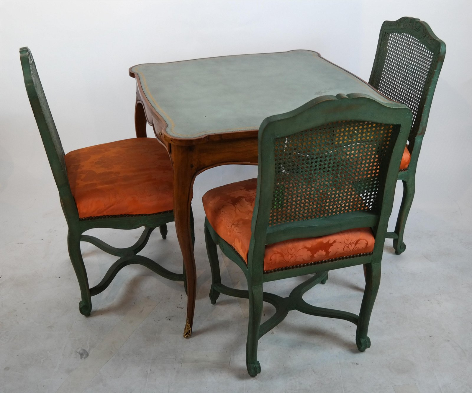 3 Yale Burge Chairs and a Game Table
