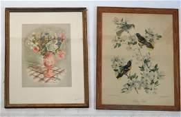 Two Prints: Birds, Flower