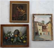 Three Paintings Portrait Village Still Life