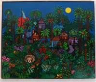 Edward SOKOL: Evening Village - Acrylic on Canvas