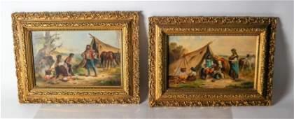 L NOVAK Two Works Encampment  Oils on Canvas