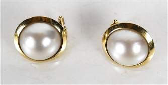 Pair Vintage 18K Yellow Gold Mabe Pearl Earrings
