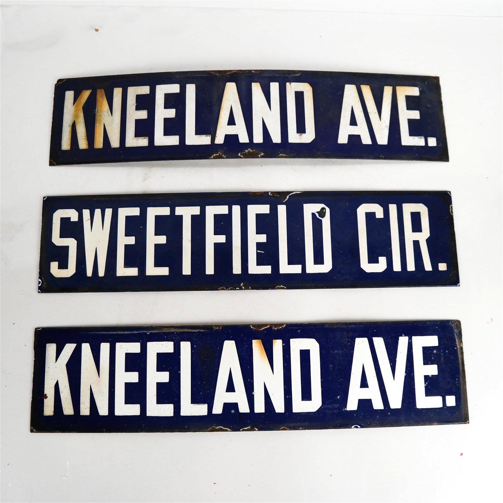 Three Vintage Metal Street Signs
