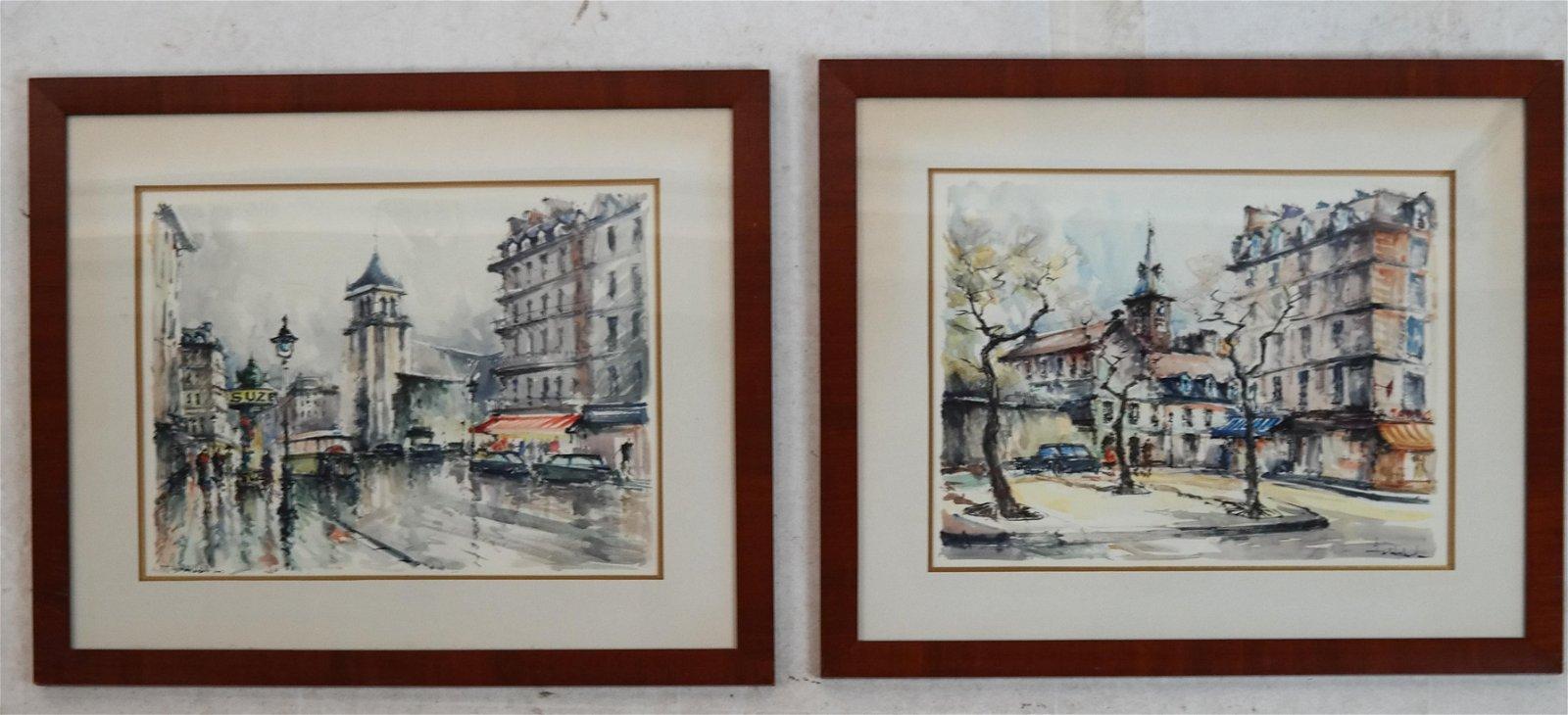 Pair of Paris Street Scenes - W/C