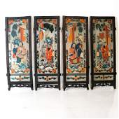 Set of 4 Chinese Reverse Painted Panels
