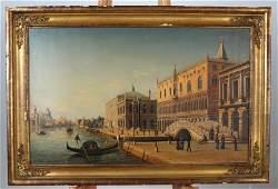 Ludwig de RUBELLI: Venetian Canal - Oil on Canvas