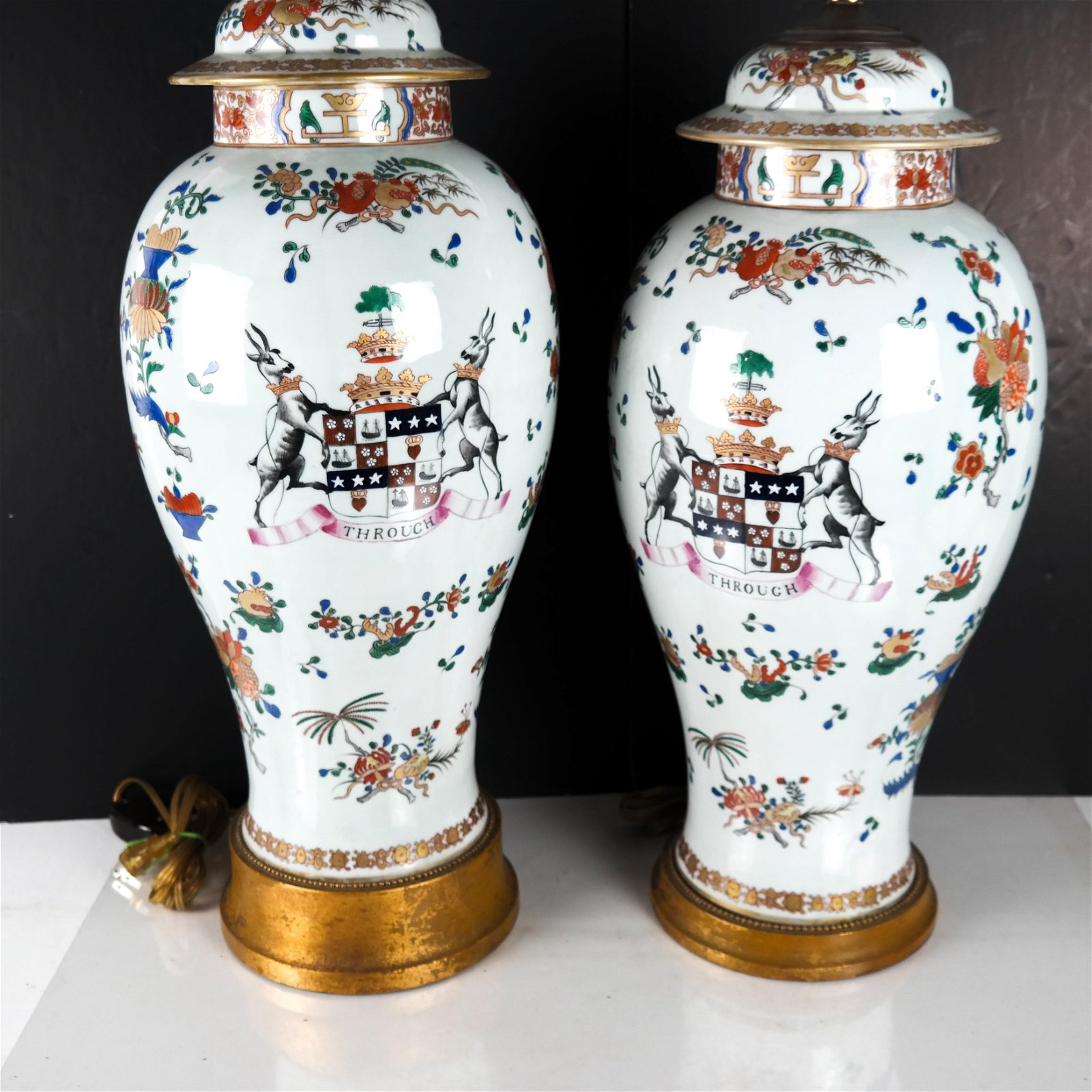 Pair Chinese Export Polychrome Enamel Porcelain Vases