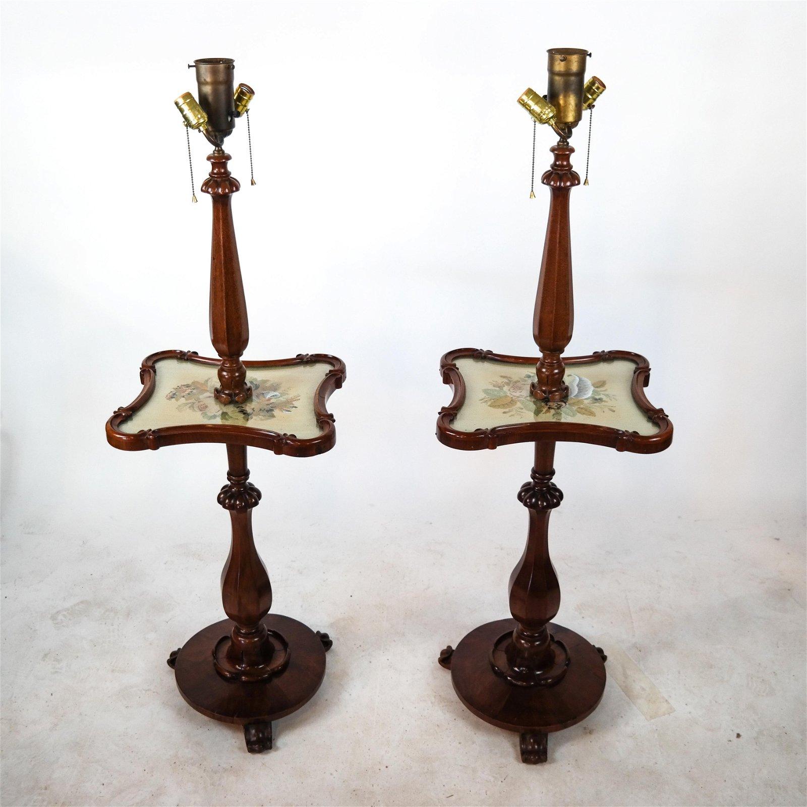 Pair Regency Stick Lamp Tables