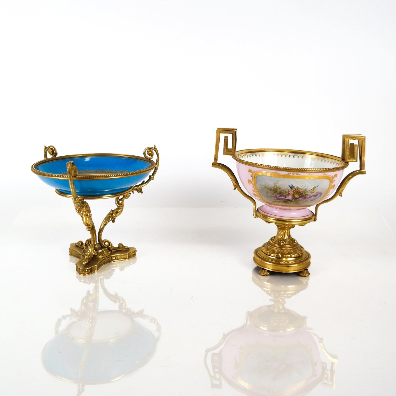 Two French Bronze & Porcelain Compotes