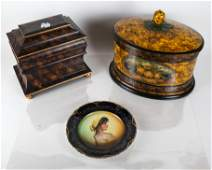 Two Faux Painted Resin Boxes  A Dresden Porcelain