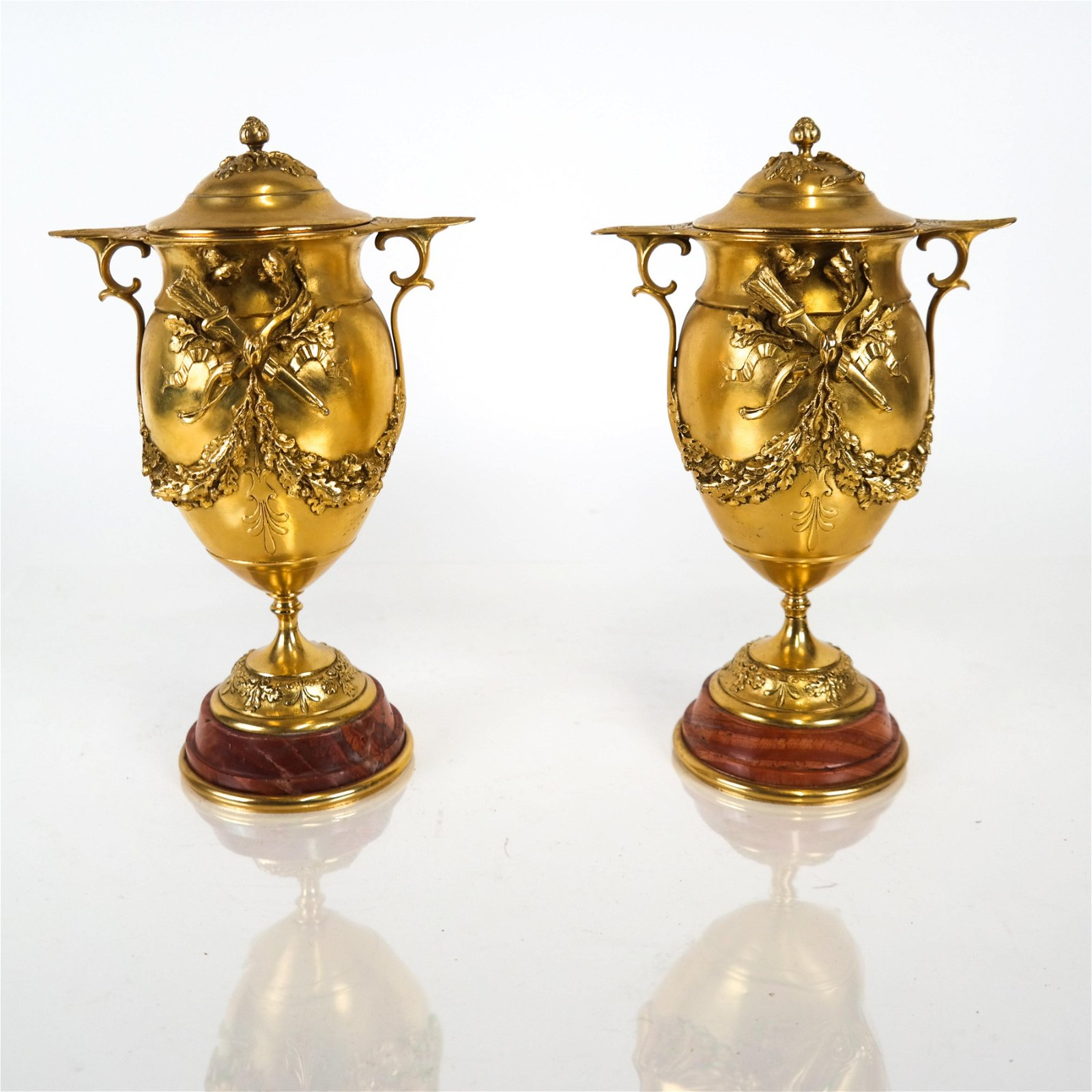 Pair Bronze Covered Urns on Marble Bases