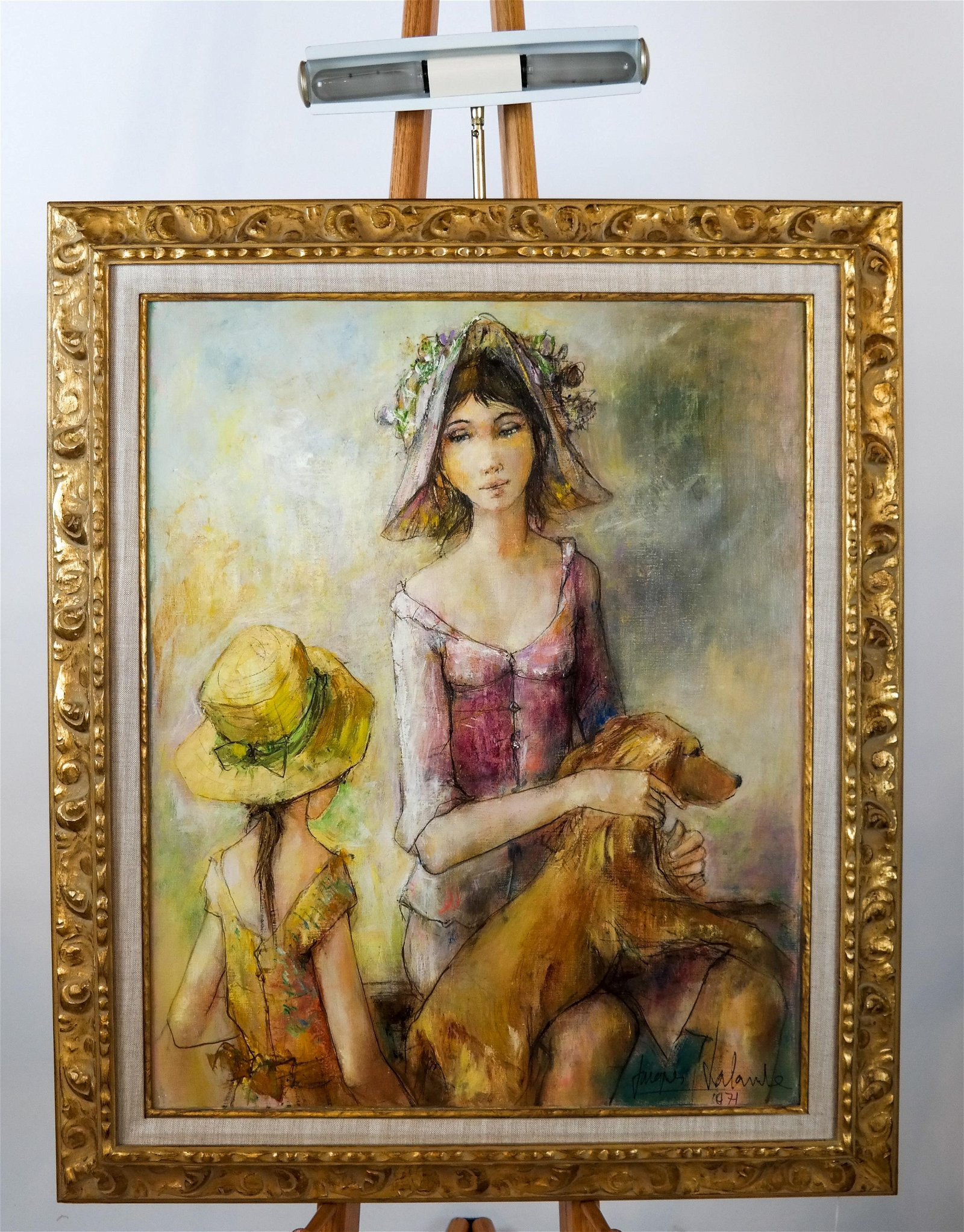 Jacque LALANDE: Girl with a Dog - Oil on Canvas
