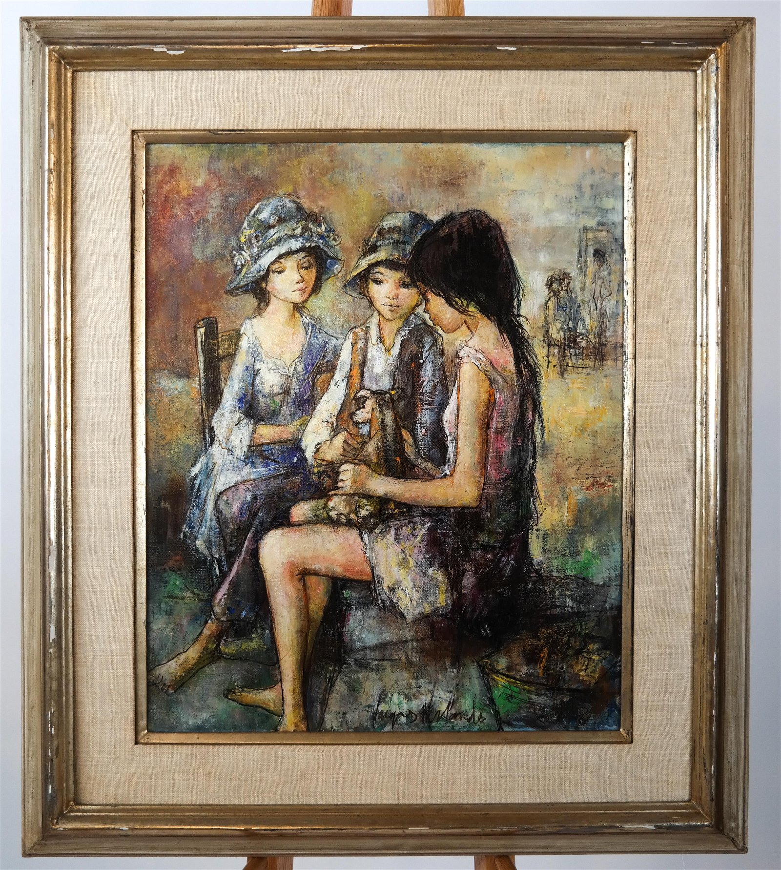 Jacque LALANDE: Three Girls - Oil on Canvas