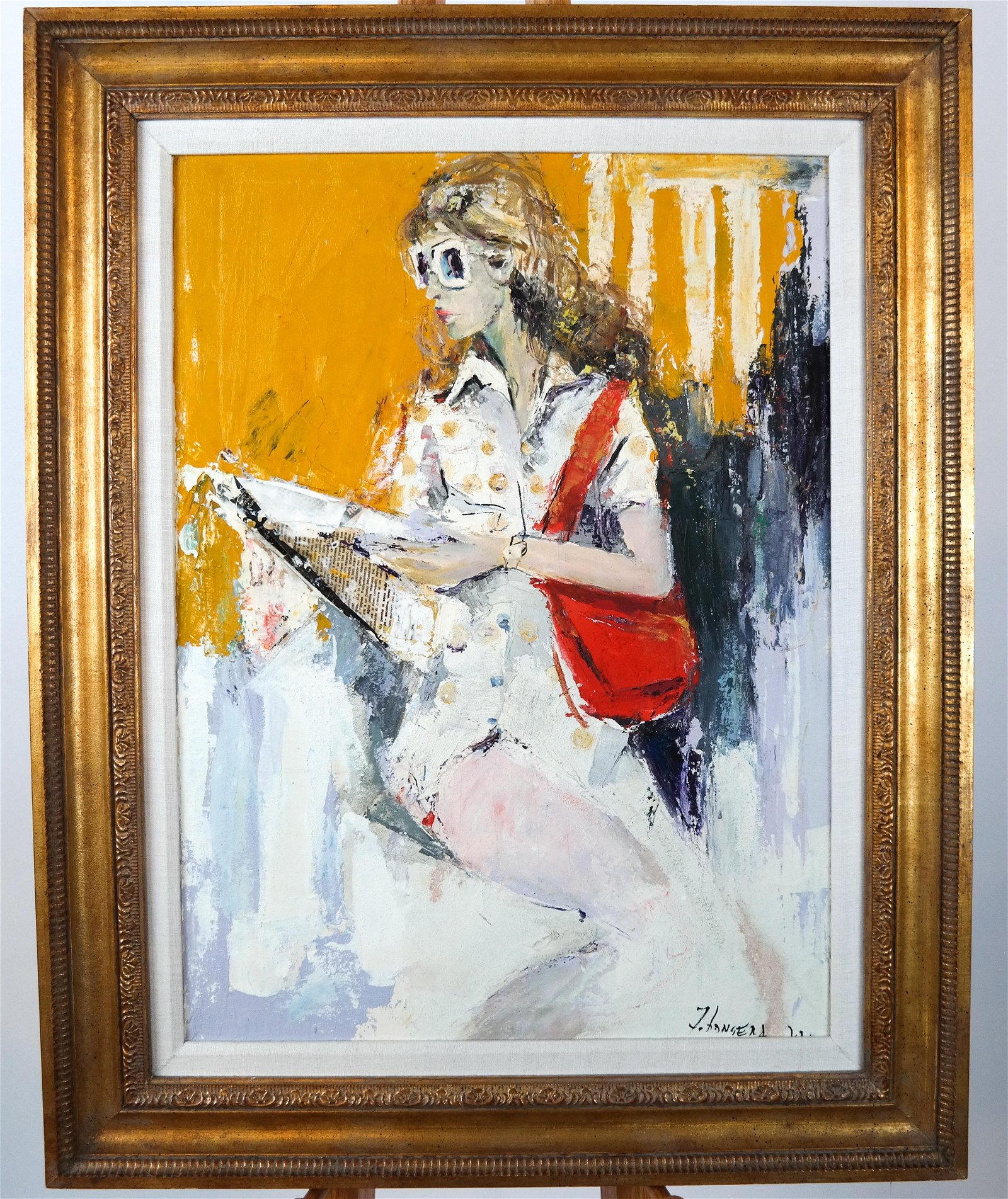 Girl with a Red Bag - Oil on Canvas