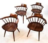 Four George Nakashima Black Walnut Chairs