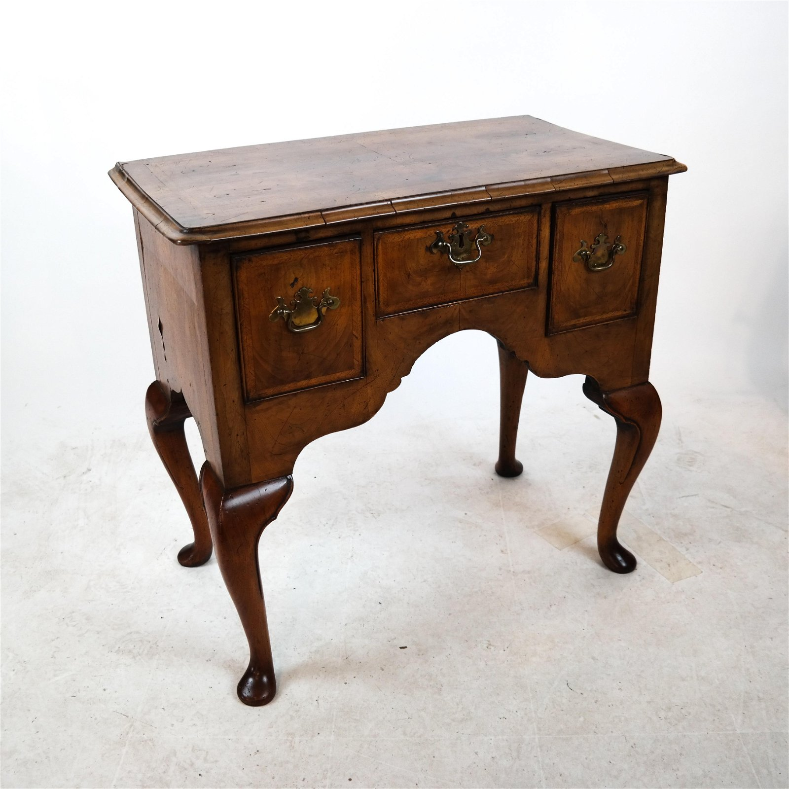 Queen Anne-Style Mahogany Inlaid Lowboy