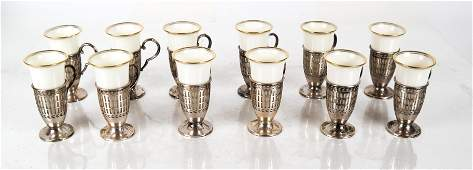 12 Sterling Silver  Lenox Demitasse Sets