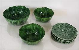 Lot of 7 Cabbage Leaf Majolica Items