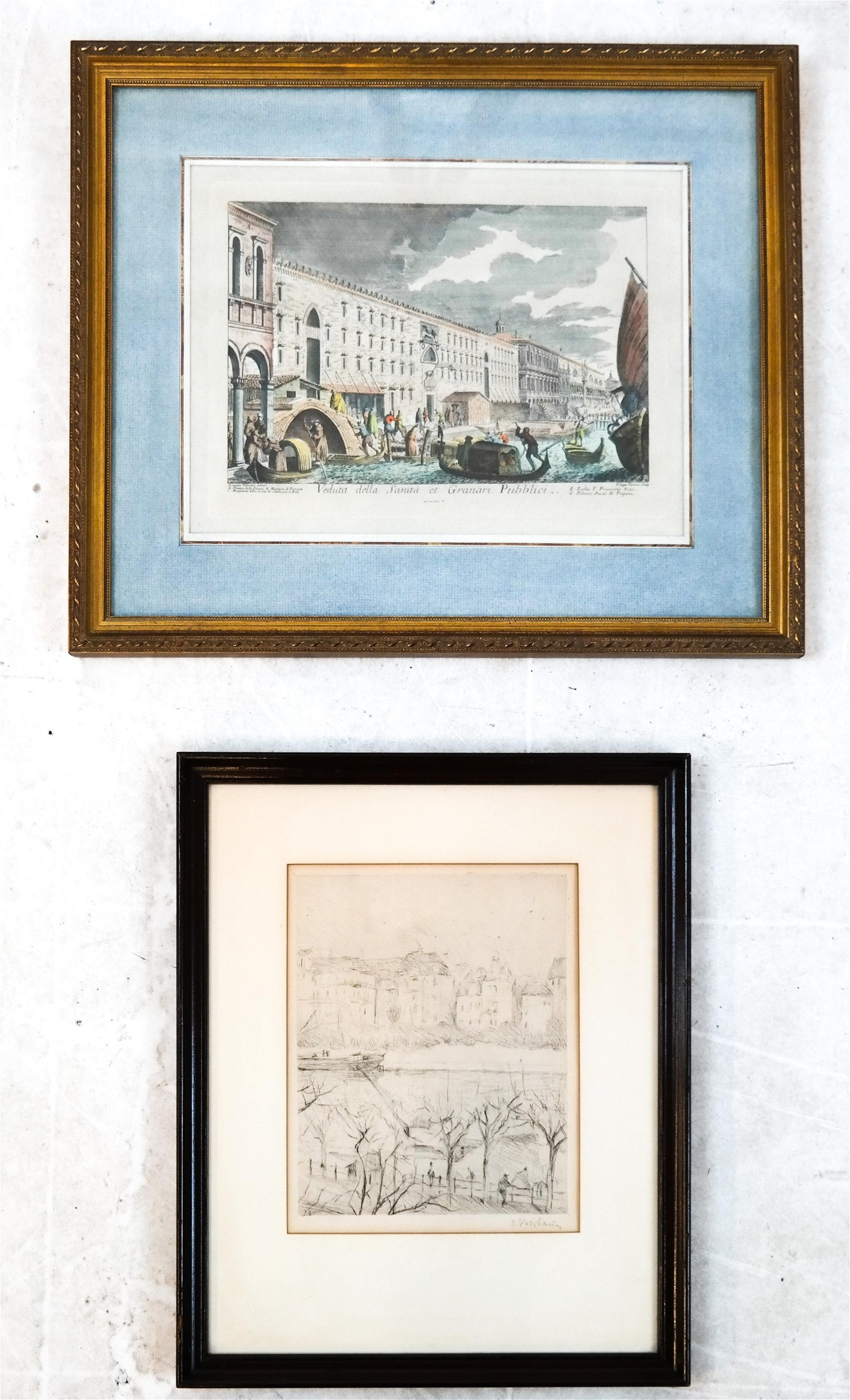Two Framed Etchings: P. Vasconi, Other
