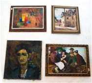 4 Oils on Canvas - Portrait, Abstract, Etc.