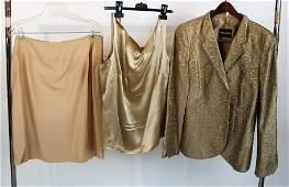 GIORGIO ARMANI Silk Jacket Skirt  Blouse Set