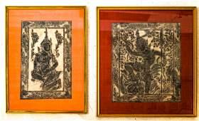 Pair Cambodian Temple Rubbings