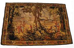 1819th C Figural Forest Tapestry