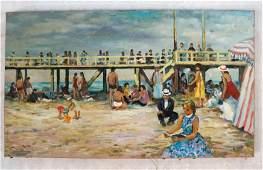 After Francois GALL: Boardwalk Scene - Oil on Canvas
