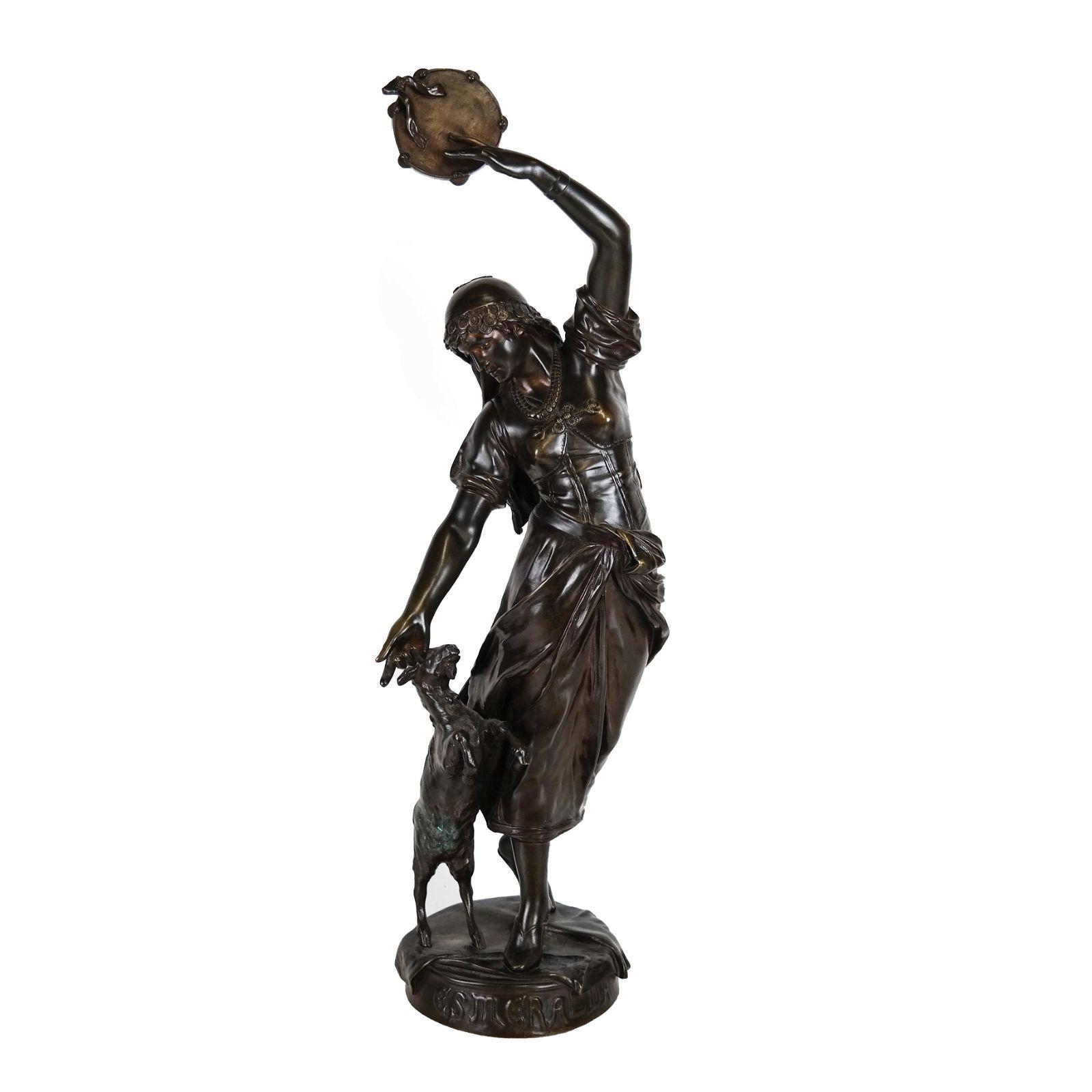 """Eug. MARIOTON: """"Esmeralda"""" - Art Nouveau Bronze"""