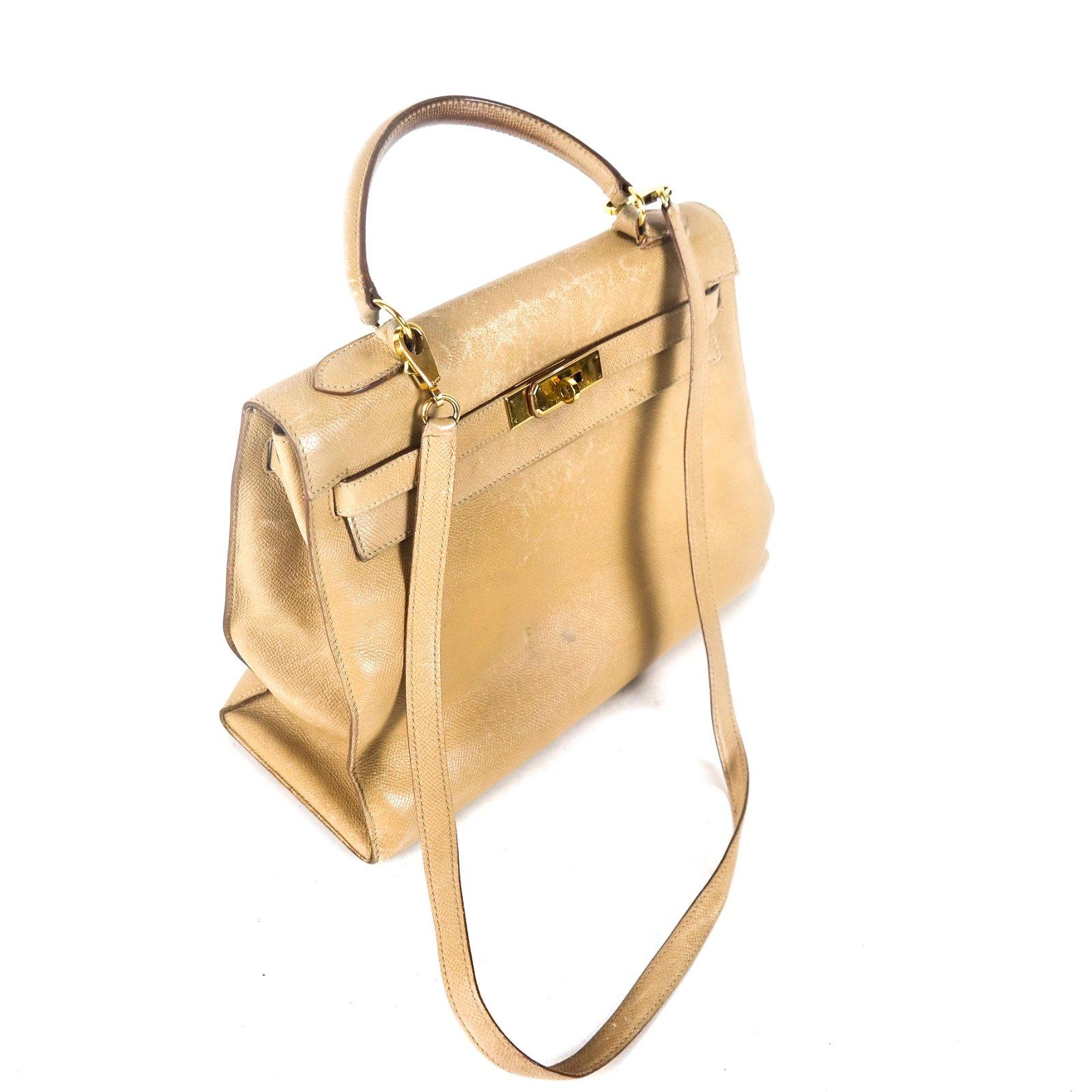 "HERMES Tan Leather ""Kelly"" Bag"
