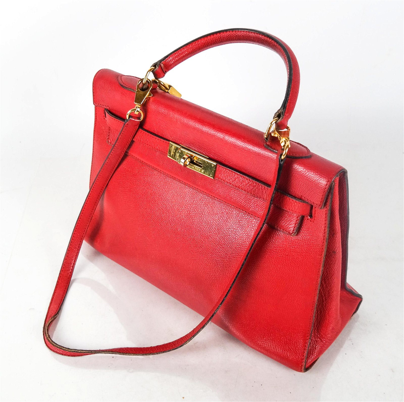 """HERMES Red Leather """"Kelly"""" Bag"""