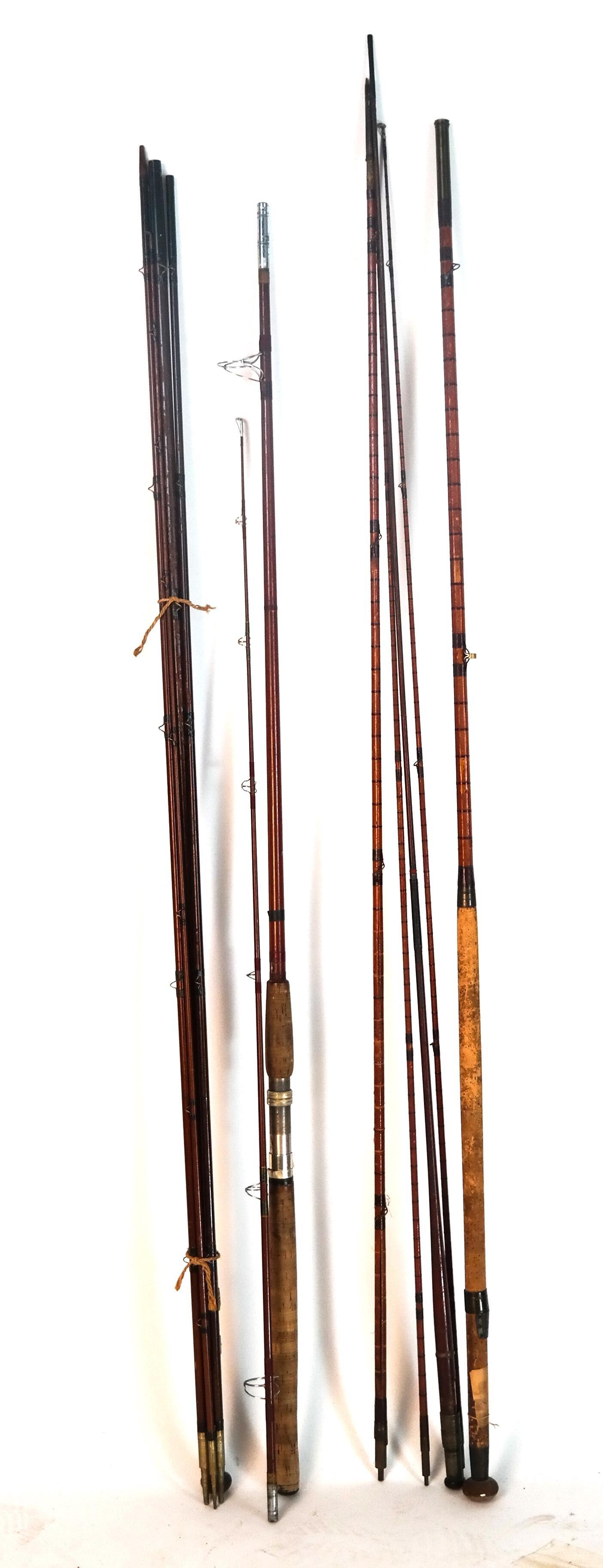 4 Sets Vintage Fishing Rods: Forrest, Silaflex, Hardy