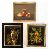 M. LAK: 3 Art Works - Birds, Still Life