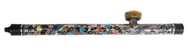 Cloisonne Enamel and Silver Opium Pipe