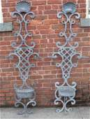 Pair Monumental Zinc Outdoor Wall Planters