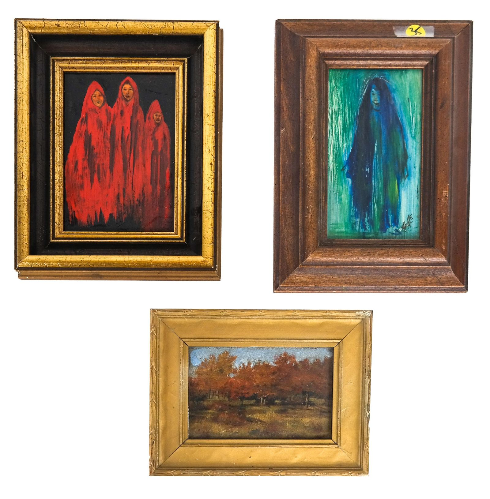 Group of 3 Small Framed Oils on Canvas