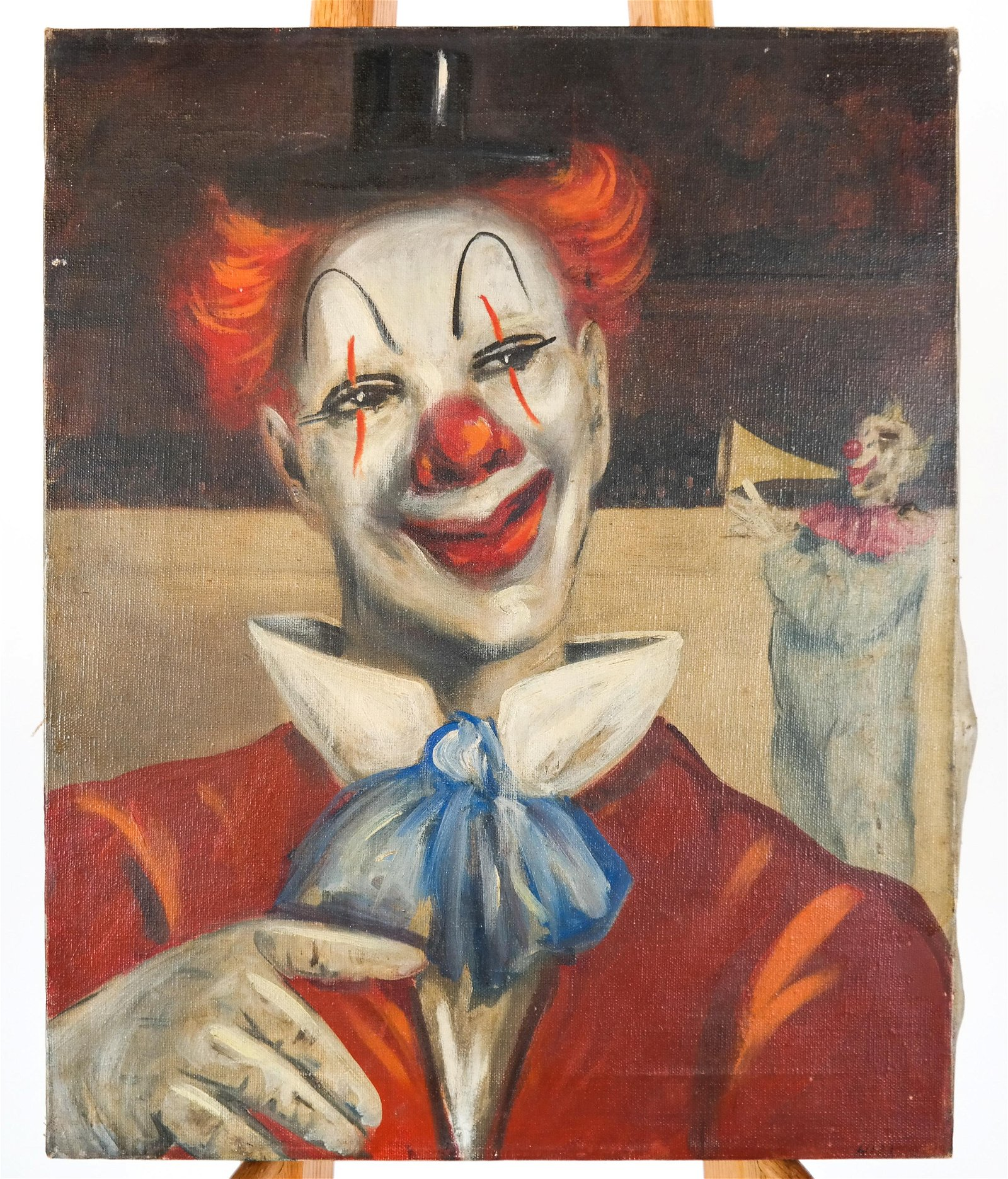 Portrait of Two Circus Clowns - Oil on Canvas