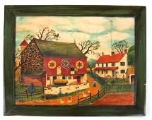 David Y. ELLINGER: American Farm Scene - Oil on Velvet
