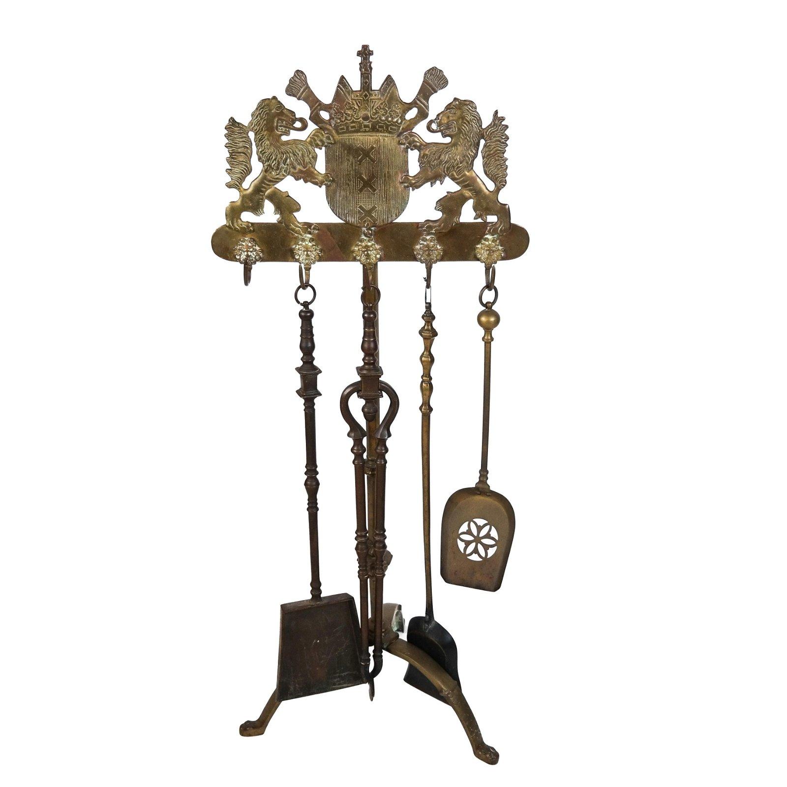 Set of Dutch Brass Fire Tools