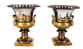 Pair Sevres Porcelain Urn-Form Planters