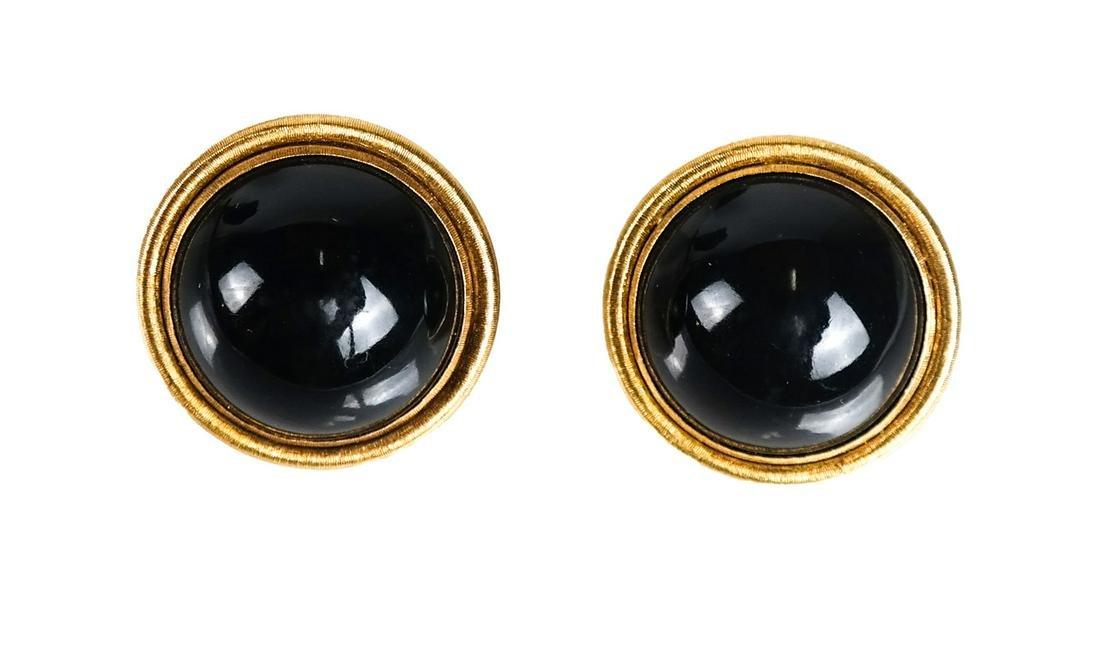 Pair 18K Gold Buccellati Garnet Earrings